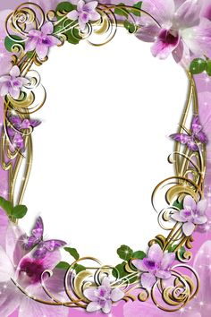 Transparent Delicate Frame with Flowers