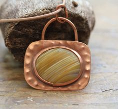 Organic shaped natural copper Pendant with by HammeredandFired