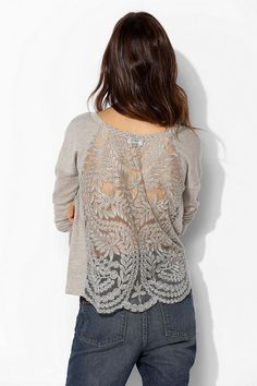 Pins And Needles Metallic Lace Back Pullover Sweatshirt #urbanoutfitters