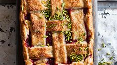 Rhubarb, orange and pistachio pie | My partner, Simon, fancies himself a bit of a rhubarb connoisseur. His family home in New Zealand has the most incredible kitchen garden which is constantly overflowing with whatever is in season. In the spring, there is rhubarb. There's always pressure when it comes to him trying one of my rhubarb desserts but he ate his whole piece of this pie in silence and then went back for more. So it must be good, then.