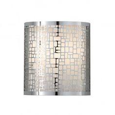 Fiess Joplin 1 Light Wall Light Polished Chrome Fiess Joplin 1 Light Wall Light Polished Chrome. This high quality Elstead Feiss wall light comes from the Joplin range, item code FE/JOPLIN1. This stylish contemporaty wall light has a chrome laser metal shade surrounding an off-white silk inner shade. The Joplin range send soft light through the random geometric patterns. The Joplin range is available in a wall light and various pendants.
