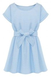 ROMWE Self-tie Bowknot Rolled-cuffs Striped Light-blue Dress
