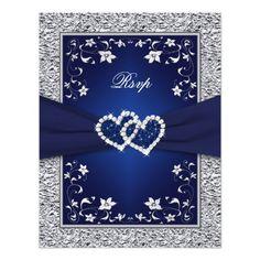 Navy Silver Floral Hearts FAUX Foil Wedding RSVP Card
