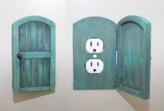 Wooden Rustic Decorative Hobbit Fairy Door Outlet Switchplate Cover  ==http://www.etsy.com/listing/159176144/wooden-rustic-decorative-hobbit-fairy