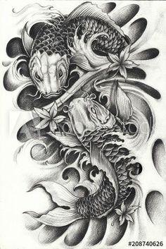 Arm Tattoos Koi Fish, Pez Koi Tattoo, Koi Dragon Tattoo, Koi Tattoo Sleeve, Japanese Koi Fish Tattoo, Koi Fish Drawing, Lion Head Tattoos, Japanese Tattoo Designs, Japanese Sleeve Tattoos