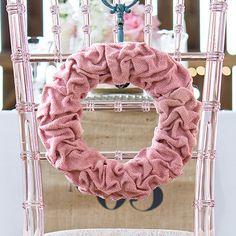 Ruffled Burlap Wreath Vintage Pink