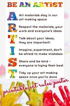 Art Room Rules Free Printable Poster Art Classroom Posters, Art Classroom Decor, Art Room Posters, Art Classroom Management, Classroom Organization, Classroom Ideas, Classroom Signs, Class Management, Art Class Rules