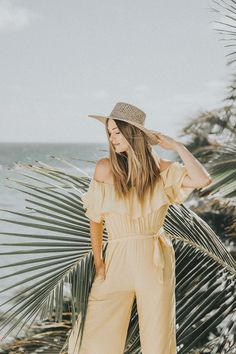 Yellow Off-Shoulder Jumpsuit Romantic Destinations, Romantic Vacations, Romantic Getaway, Mexico Vacation, Mexico Travel, Vacation Wear, Girls Run The World, Off Shoulder Jumpsuit, Beautiful Beaches