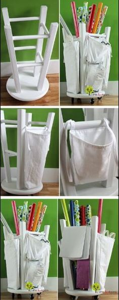 Fantastic Wrapping Container... I HAVE STOOL LIKE THIS---I can make a cloth big bag to go inside and some smaller ones for scissors, tape, tags etc to tie or velco on the sides~ and have the perfect wrapping container!!!