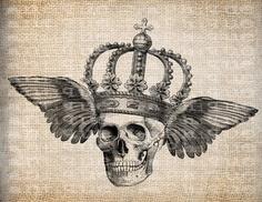 Antique Skull Skeleton Wings Crown