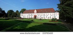 Castle Schloss Schoenborn in Heusenstamm Hesse Germany - panoramic view. The first buildings of the Castle Heusenstamm or also called Castle Schoenborn were built in the 15th century.