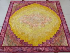 Quilted table topper wall hanging Large Table, Small Tables, A Table, Quilted Table Toppers, Quilts For Sale, Custom Quilts, Bargello, Collaboration, Bohemian Rug