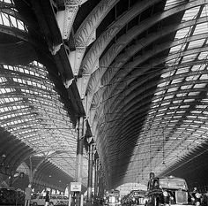 In 1972 John Gay published London's Historic Railway Stations with John Betjeman. He took many pictures which were not used in the book, including this view of the roof structure at Paddington. Roof Structure, English Heritage, Interesting History, Skyscraper, Gay, London, Architecture, Building, Pictures