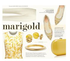 """""""Stay Golden: Dressing in Marigold"""" by katarina-blagojevic ❤ liked on Polyvore featuring Oscar de la Renta, Haider Ackermann, René Caovilla, Kate Spade and Kenneth Jay Lane"""