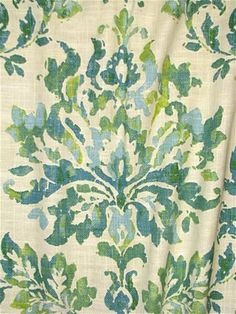 Vanessa 548 Isle Waters: Heavy linen floral fabric in vintage medallion pattern. Decorator upholstery or curtain fabric from Covington NY Fabric. Cat Fabric, Green Fabric, Floral Fabric, Luxury Bedding Collections, Luxury Bedding Sets, Coastal Fabric, Covington Fabric, Shabby Chic Colors, Neutral Bed Linen