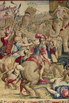 D'après Giulio ROMANO Rome, 1492 ou 1499 - Mantoue 1546 La Bataille de Zama Dixième pièce de la tenture L'Histoire de Scipion Tapisserie, laine et soie Copie exécutée à la manufacture des Gobelins pour Louis XIV, en 1688 - 1689, d'après la tenture tissée à Bruxelles, vers 1558, pour le maréchal de Saint-André. Ancienne collection de la Couronne Département des Objets d'art OA 5394