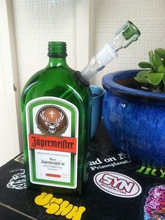 Jagermeister Liquor Bottle Bong We soo want these in the Junkyard Dog site! Glass Pipes And Bongs, Glass Bongs, Cannabis Seeds For Sale, Cannabis Oil, Bottle Bong, Weed, Big Girl Toys, Mary J, Liquor Bottles