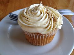 butter rum cupcake with egg nog frosting