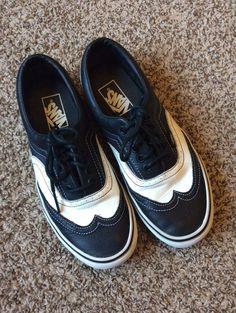 watch 8a708 b2684 Era Black   White LEATHER Vans Wingtip Wedding Skate Shoes Mens 7 Womens  8.5. Rockabilly MännerRockabilly HochzeitReebokAir JordanAdidasNikeWeiß ...