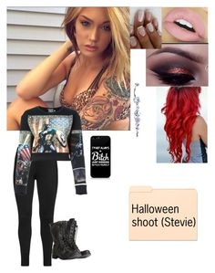 """Has Chris backstage for her shoot -Stevie"" by bvblunaticfringe on Polyvore featuring Studio, FAUSTO PUGLISI, AllSaints and Kylie Cosmetics"