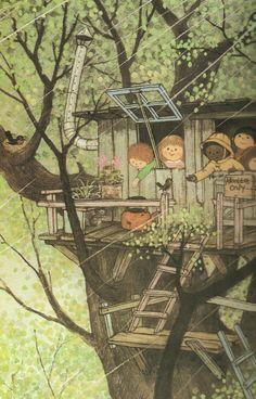 gyo fujikawa - love this rainy day tree house!