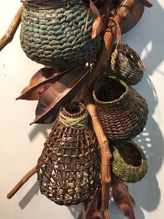 Matt Tommey creates unique woven wall art from locally harvested bark, vines and branches. Seagrass Baskets, Rattan, Vine And Branches, Dragonfly Photography, Making Baskets, Macrame Wall Hanging Diy, Newspaper Basket, Textile Fiber Art, Weaving Art