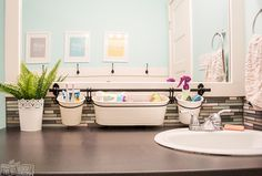[Pics] 15 Genius Ways to Keep Your Bathroom Clean and Organized - Install a pail rail above your bathroom sink to clear counter clutter and make your bathroom more o - Organization Of Life, Kids Bathroom Organization, Bathroom Kids, Bathroom Cleaning, Small Bathroom, Organizing Ideas, Modern Bathroom, Bathroom Hacks, Neutral Bathroom
