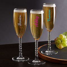 Buy personalized champagne glasses & add any text in your choice of over 12 colors. Free personalization & fast shipping.