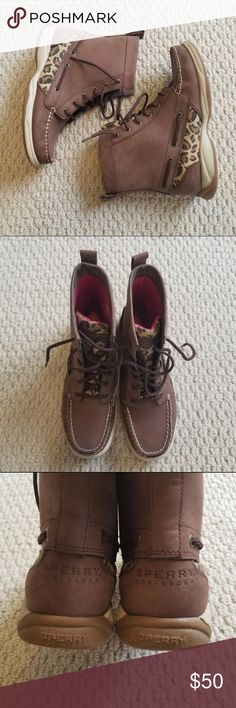 Sperry Boots Condition: Gently Used  Size: 6.5 Color: Brown and Pink Sperry Shoes Winter & Rain Boots