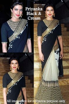USD 59.34 Priyanka Black and White Designer Bollywood Saree