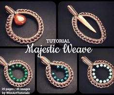 """TUTORIAL """"Majestic Weave"""" PDF pattern book,wire wrap weave jewelry,copper,cabochon,wrapping weaving,wrapped weaved,large,big pendant design"""