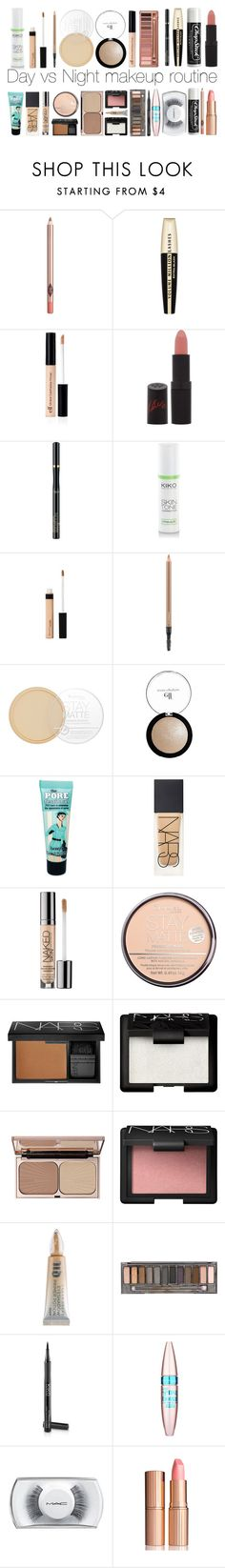 """""""Day vs Night makeup routine"""" by trxpicalwhore ❤ liked on Polyvore featuring beauty, Charlotte Tilbury, L'Oréal Paris, Chapstick, Rimmel, Urban Decay, MAC Cosmetics, Benefit, NARS Cosmetics and Maybelline"""