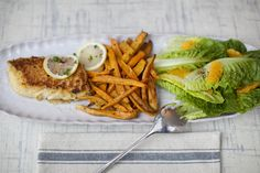 A healthy twist on fish and chips - Cornmeal-Crusted Cod and Sweet Potato Fries!
