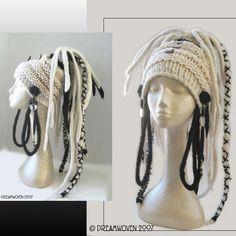 "Art for Your Head - ""Domina"" by DreamWoven1, via Flickr cool fake dread locks , festival hippy ,pagan fairy pixie knitted and crochet hat design, no pattern but not hard to work out"