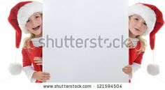 little girl in red santa hat peeking from billboard. Santa Hat, Billboard, Little Girls, Royalty Free Stock Photos, Images, Crochet Hats, Illustration, Pictures, Noel