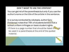 In-Text Citation & Works Cited Youtube video