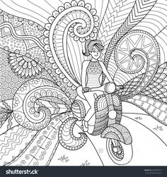 Doodles Design Of A Photographer Girl Taking Photo For Coloring Book