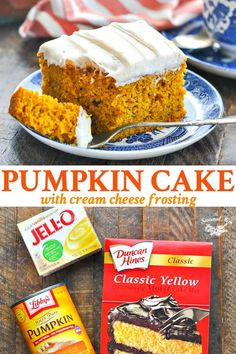 Thanks to help from a box of yellow cake mix, this Easy Pumpkin Cake recipe comes together in minutes. Topped with cinnamon cream cheese frosting, it's a perfect fall dessert that tastes like it's made from scratch!