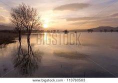 Beautiful sunset from the swamp of Santillana, in Manzanares el Real, Madrid - España