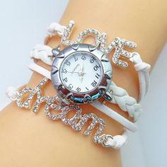 Retro Rhinnestone LOVE DREAM Woven Bracelet Watch