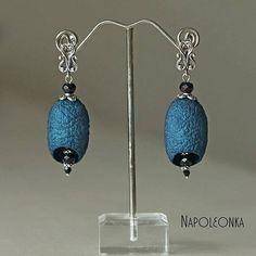 Silkworm Earring Silk cocoon Jewelry Blue Woman Girl Lady
