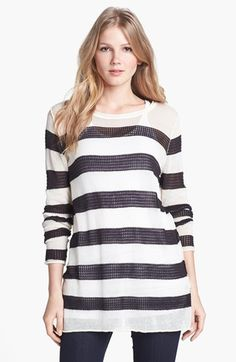 Max & Mia Stripe Tunic Sweater Black Small