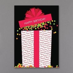 """A gift """"wrapped"""" in your company name explodes with colorful confetti on the front of this black, folding birthday card."""