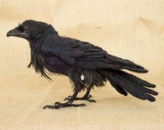 Roscoe the Raven: Needle felted animal sculpture by The Woolen Wagon - This is amazing!