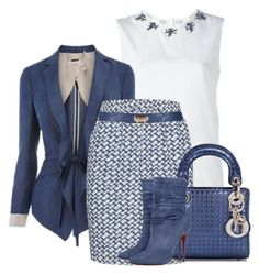 A fashion look from January 2017 featuring white tank top, knee length skirts and Christian Dior. Browse and shop related looks. Classy Outfits, Pretty Outfits, Casual Outfits, Cute Outfits, Workwear Fashion, Office Fashion, Look Fashion, Luxury Fashion, Womens Fashion