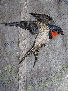 Louise Watson - Textile Artist: Spring swallow finished!