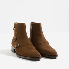ZARA - MAN - BROWN LEATHER ANKLE BOOTS WITH THREE BUCKLES