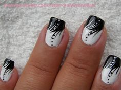 Black and White nail art by Creativenailart