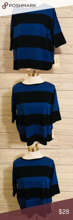 Peter Nygard NWT Blue & Black Striped Shirt Peter Nygard NWT Blue & Black Striped Shirt New with tags Size Small 26 inches across the front armpit to armpit  23 inches long shoulder to hem  Would fit up to XL as the designer made this VERY loose and casual  High quality shirt Rich thick jersey fabric Gorgeous ❤️ Peter Nygard Tops