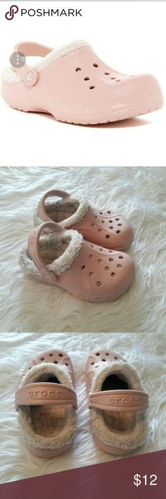 Pink fur lined Crocs Crocs in goog condition, see picture #4 indicates some signs of usage, but the shell of the shoes are in good shape and clean CROCS Shoes Sandals & Flip Flops